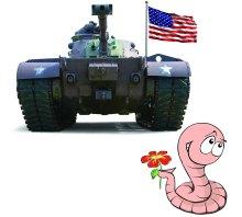 Tank & American Flag & Worm